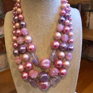 Jewelry - Vintage Bubble Gum Pink Multilayer Necklace